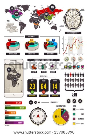 Set of infographic elements, statistics, charts, icons and banners. Vector illustration. - stock vector