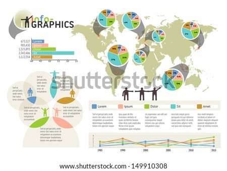 Set of infographic elements. Visual statistic information on world map. EPS 10 vector, transparencies used. The map image is derived from the materials of the University of Texas Libraries.