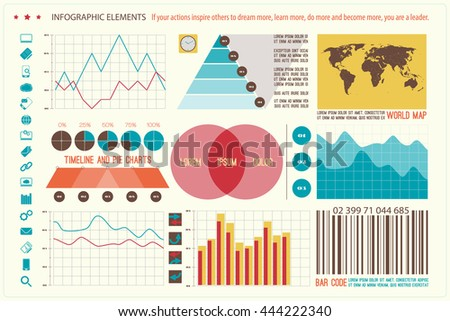 set of infographic elements, web technology icons. vector timeline, option graph, bar code symbol. pie chart info graphic icon. financial statistic and marketing report presentation banner design - stock vector