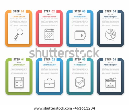 Set of infographic elements with numbers, line icons and place for your text, can be used as workflow, process, steps or options, vector eps10 illustration - stock vector
