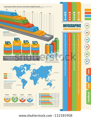 Set of Infographic Elements. World Map and Information Graphics - stock vector