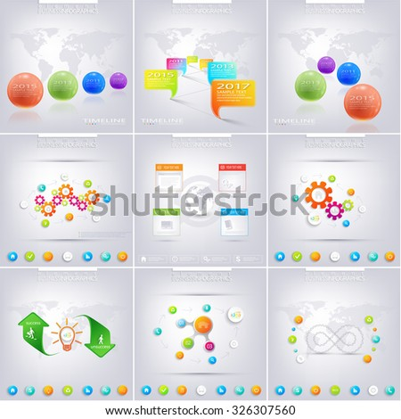 Set of infographic  for your design . Can be used for workflow layout, diagram, chart, number options, web design. Vector illustration. - stock vector