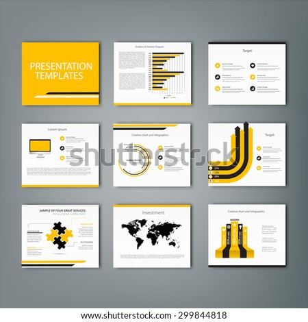 Set of infographic Presentation Template , Infographic Element , Business infographic , Layout design , Modern Style , Vector design illustration. Yellow version - stock vector