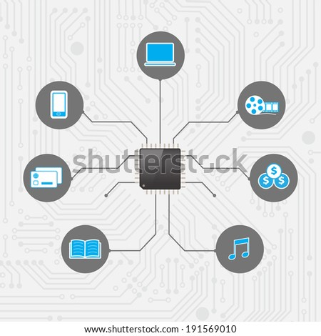 Set of infographics and icons Social Media. Icons of network with chip processor technology