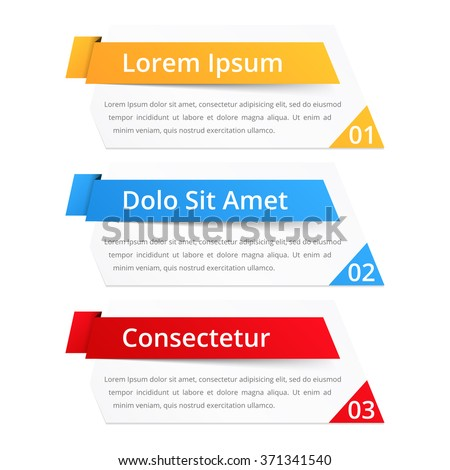 Set of infographics design elements with place for numbers (steps or options) titles and text, vector eps10 illustration - stock vector