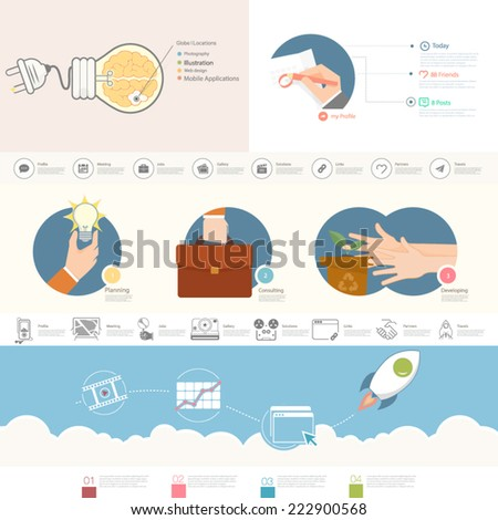 Set of infographics elements for business presentation templates. - stock vector