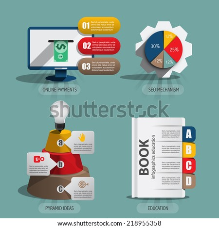 set of infographics elements in flat design - stock vector