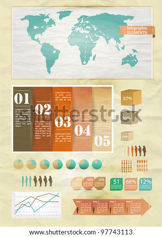 Set of infographics elements.Old paper texture. Vintage style design