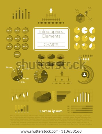 Set of infographics elements - various charts - stock vector