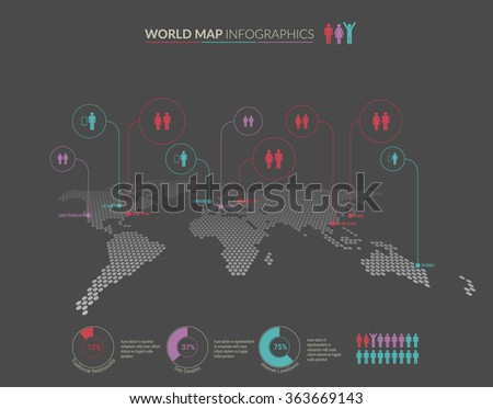 Set of infographics elements - world map, pointers and diagrams templates. Vector illustration.