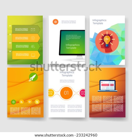 Set of Infographics, Flyer and Brochure Designs. Vector brochure design templates collection. Applications and Infographic Concept. Flyer, Brochure Design Templates set.  - stock vector