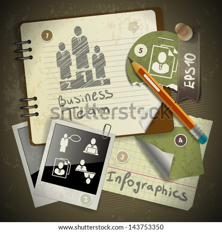 set of infographics from torn pieces of paper in vintage style scrapbooking with notepad - stock vector