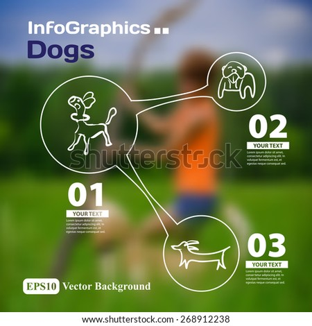 Set of infographics with blurry photographic background on the topic of dogs - stock vector
