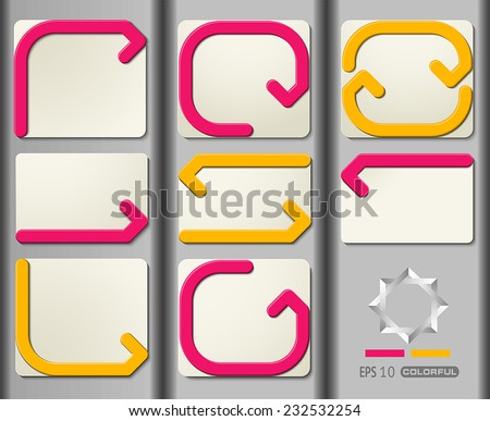 Set of information sign with direction - stock vector