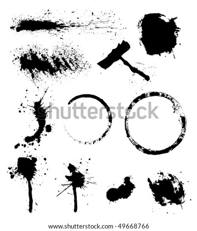 set of ink blots - stock vector