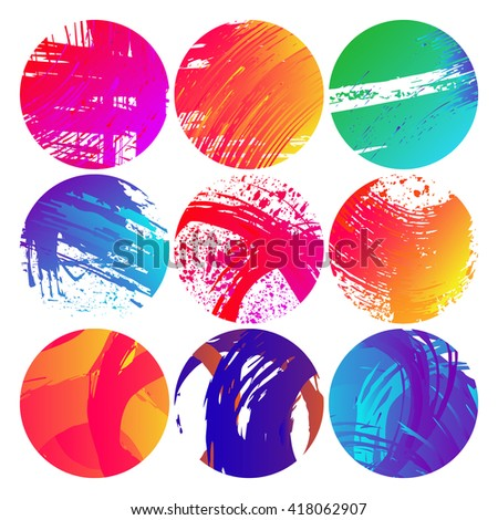 Set of ink grunge colorful circles shape vector illustration. Abstract stamps. Round brush circle
