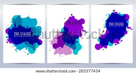 Set of ink stains. Abstract painted background for brochure, cover and sheets. - stock vector