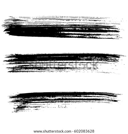 Set of ink vector brush strokes. Vector illustration. Grunge hand drawn watercolor texture.