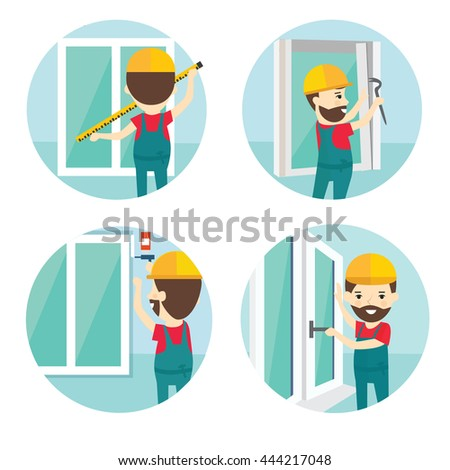Set of installation of window flat icons.Installation of windows flat style illustration. Measuring Windows and dismantling old windows, window installation - stock vector