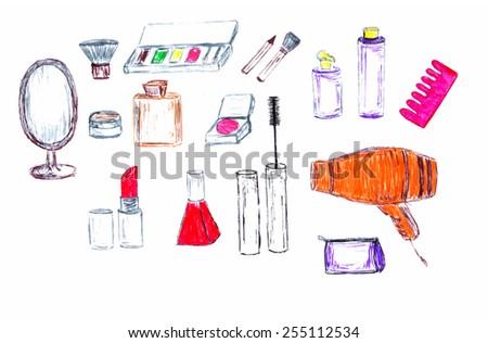 set of instruments, cosmetics - stock vector