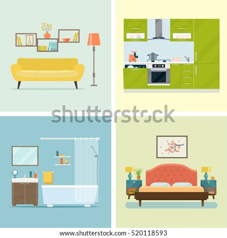 living room bedroom bathroom kitchen set interior design room living room stock vector 18975