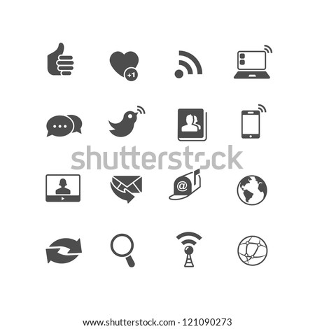 Set of 16 Internet Communication Icons that can be used for websites or mobile devices UI. Sliced for PNG.