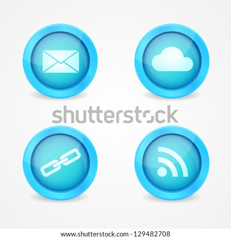 Set of internet glossy vector icons