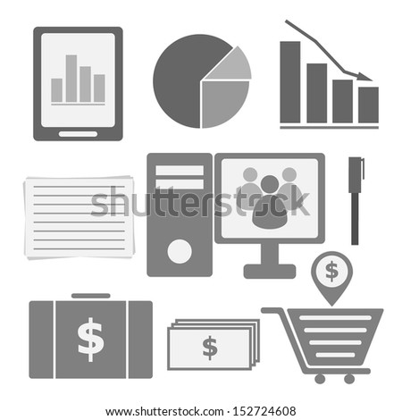 Set of internet investor at home icons, stock vector - stock vector