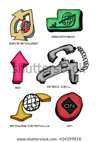 Set of Internet related icon hand draw - stock vector