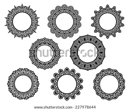 Set of intricate vintage lace frames with ornate borders and central copyspace in black and white - stock vector