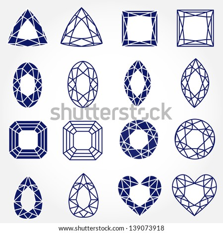 Set of 16 Inverse Gemstones, Vector Illustration. Also see other sets - stock vector
