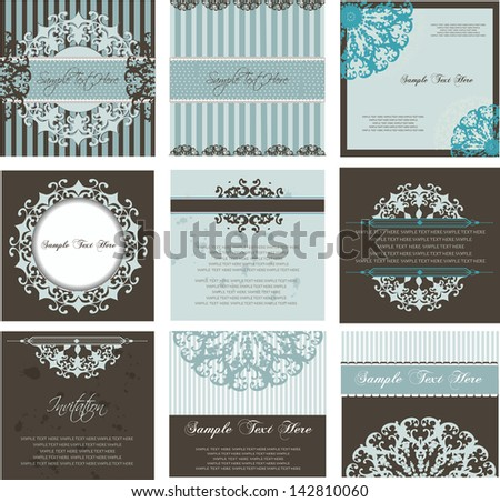 set of invitation cards and labels, baroque stile - stock vector