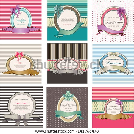 set of invitation cards and vintage labels - stock vector