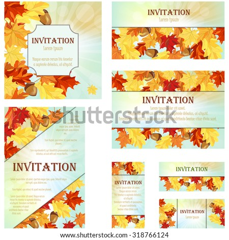Set of Invitation Cards in Different  Size and Formats. Elegant Autumn Design With Maple and Oak Leaves and Acorns Over Sky Background With Beams of Sun. Vector Illustration. - stock vector