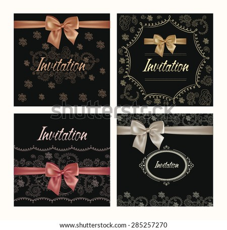 Set of invitation cards with floral design elements and silk bows - stock vector