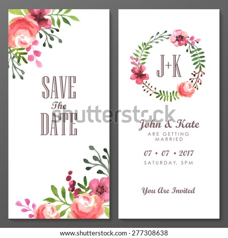 Set of invitation cards with watercolor flowers. Vector hand painted illustration.