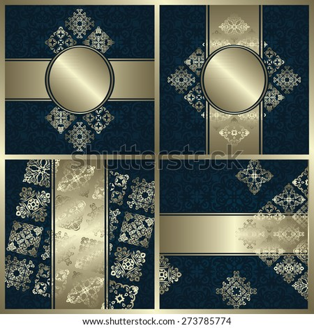 Set of invitations with decorative ribbons and vintage elements. All templates have seamless background. Original design                          - stock vector