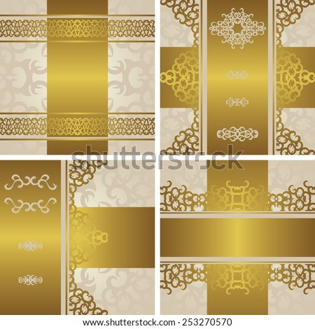 Set of invitations with vintage decoration in a gold. Decorative borders. Original design                           - stock vector