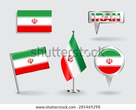 Set of Iranian pin, icon and map pointer flags. Vector illustration. - stock vector
