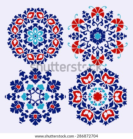 Set of Islamic floral circle design. Traditional round Turkish ornament. Vector illustration. - stock vector