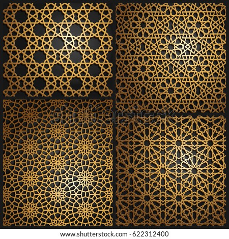 set of islamic oriental patterns seamless arabic geometric pattern vector traditional muslim background