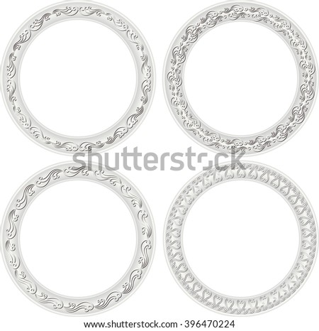 set of isolated antique frames - stock vector