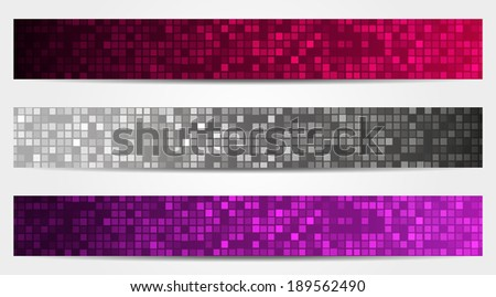 Set of 3 isolated banners (headers) in mosaic style in glamour colors - stock vector
