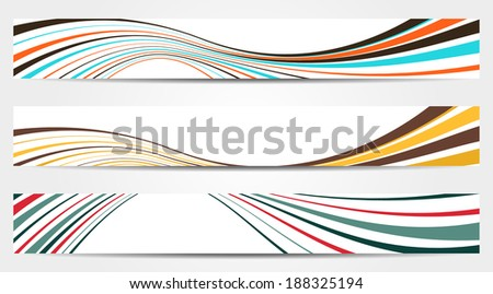 Set of 3 isolated banners with waves in vintage colors - stock vector