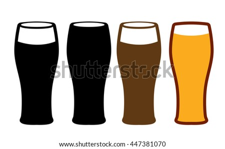 set of isolated beer cups on white background
