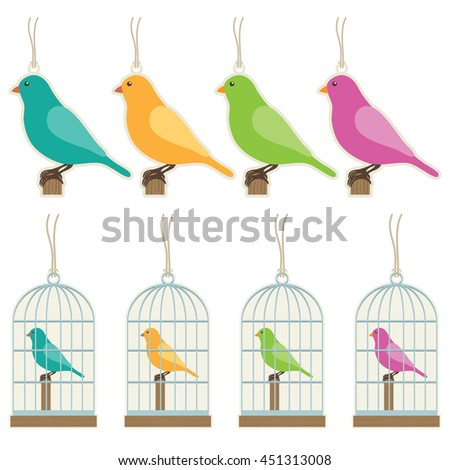 set of isolated bird and bird cage gift tags