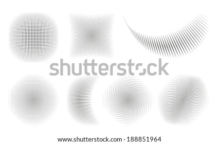 Set of 7 isolated black halftone ornaments - stock vector