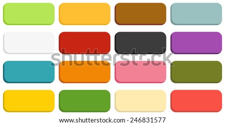 Set of 16 isolated blank buttons with rounded corners