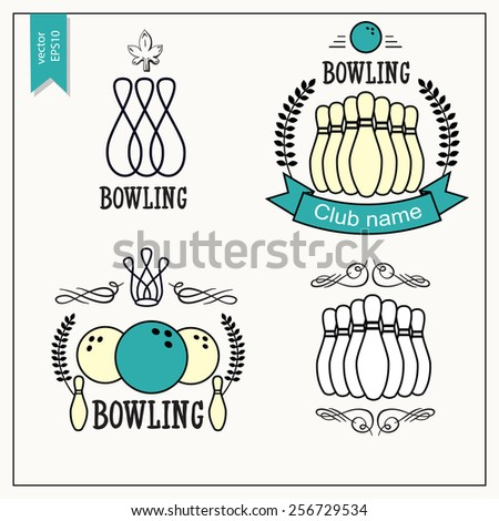 Set of isolated bowling emblems, labels, badges and designed elements. Bowling labels and icons set. Vector Vintage Bowling. Elements bowling isolated. - stock vector