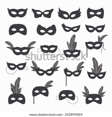 Set of isolated carnival masks, black and white - stock vector
